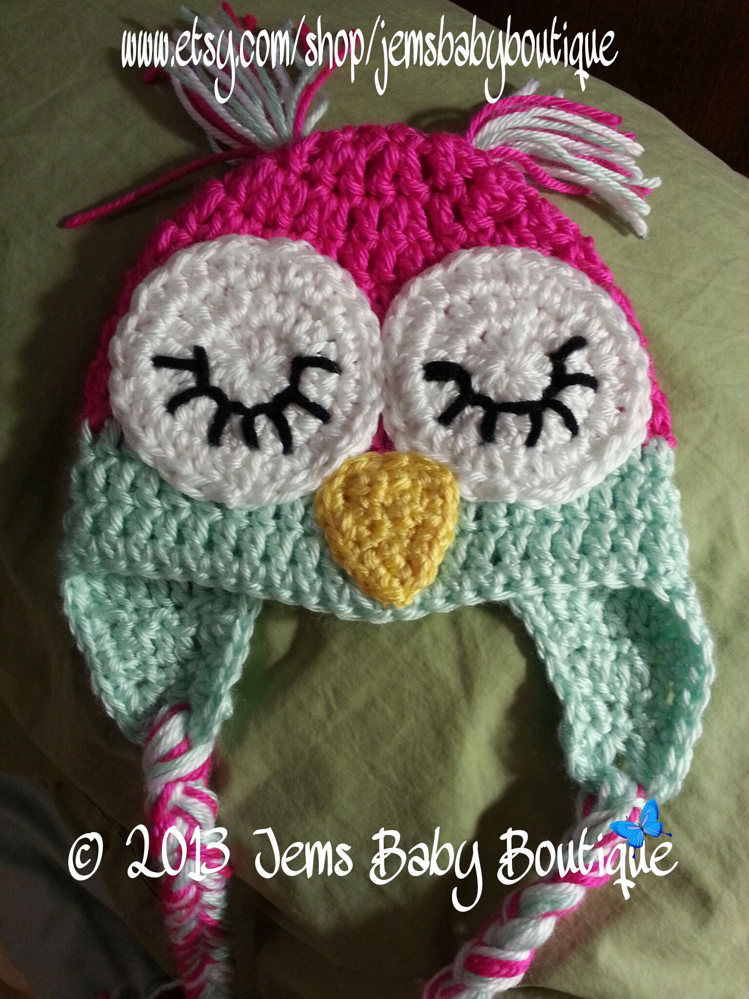 Crochet Sleepy Owl Hat W/ Earflaps And Pigtails 0-3 Months ...
